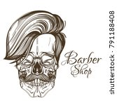skull with mustache and stylish ... | Shutterstock .eps vector #791188408