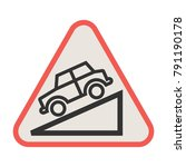 slope ahead icon | Shutterstock .eps vector #791190178