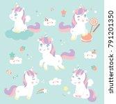 set cute sweet unicorn  | Shutterstock .eps vector #791201350