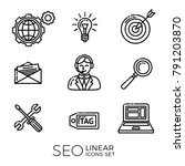 set of linear seo icons  ... | Shutterstock .eps vector #791203870