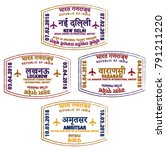 set of stylised passport stamps ... | Shutterstock .eps vector #791211220
