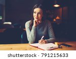 pondering attractive young... | Shutterstock . vector #791215633