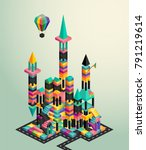 isometric 3d view of abstract...   Shutterstock .eps vector #791219614