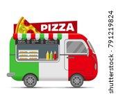 pizza street food caravan... | Shutterstock .eps vector #791219824