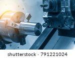 the  cnc lathe machine cutting...   Shutterstock . vector #791221024
