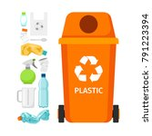 orange garbage can with plastic ... | Shutterstock .eps vector #791223394