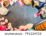 korea traditional object on the ...   Shutterstock . vector #791224723