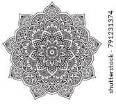 black and white mandala vector... | Shutterstock .eps vector #791231374