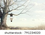 surreal moment of man reading a ... | Shutterstock . vector #791234020