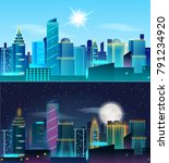big city day and night... | Shutterstock .eps vector #791234920
