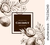 vector frame with coconuts and... | Shutterstock .eps vector #791236240
