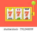 golden slot machine with lucky... | Shutterstock .eps vector #791240059
