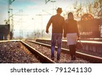 young man and woman traveling | Shutterstock . vector #791241130