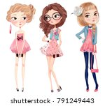 cute fashion cartoon girls | Shutterstock . vector #791249443