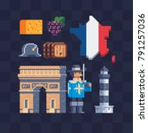 french culture. pixel art icons ... | Shutterstock .eps vector #791257036