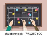 blackboard with table drawn on... | Shutterstock .eps vector #791257600