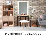 view of makeup room with... | Shutterstock . vector #791257780