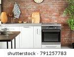 modern kitchen interior with... | Shutterstock . vector #791257783