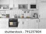 modern kitchen interior with... | Shutterstock . vector #791257804