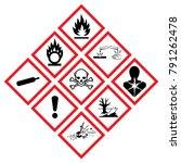 danger hazard symbol icons. ghs ... | Shutterstock .eps vector #791262478