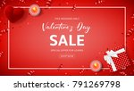 red banner for valentine's day... | Shutterstock .eps vector #791269798