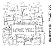 cute cats give loves doodle for ... | Shutterstock .eps vector #791274100