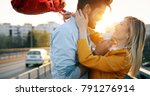 couple in love cuddling while... | Shutterstock . vector #791276914