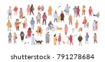 Stock vector crowd of people dressed in outerwear isolated on white background large group of men and women 791278684