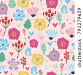 vector pattern with flowers ... | Shutterstock .eps vector #791279659
