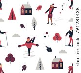 winter sports pattern with... | Shutterstock .eps vector #791281438