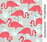exotic beach trendy seamless... | Shutterstock .eps vector #791283544