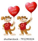 love you. funny cartoon dog ...   Shutterstock .eps vector #791290324