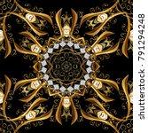seamless golden textured curls. ... | Shutterstock .eps vector #791294248