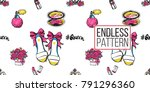 vector seamless pattern with... | Shutterstock .eps vector #791296360