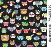 cute animal faces with funny... | Shutterstock .eps vector #791308330