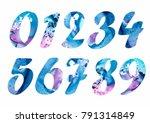number set. blue numbers.... | Shutterstock . vector #791314849