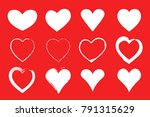 white hearts set on red... | Shutterstock .eps vector #791315629