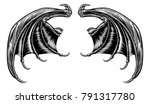 a set of dragon  bat or other... | Shutterstock .eps vector #791317780