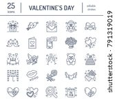 valentines day flat line icons. ... | Shutterstock .eps vector #791319019