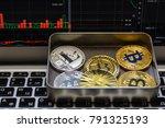 golden bitcoins in metal box... | Shutterstock . vector #791325193