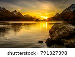 Sunset Mountain Lake Landscape
