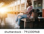 hipster backpacker at the train ... | Shutterstock . vector #791330968