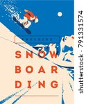 freeride snowboarder in motion. ... | Shutterstock .eps vector #791331574