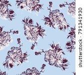 seamless hand drawn  flower... | Shutterstock .eps vector #791341930