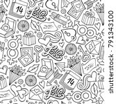 cartoon cute hand drawn... | Shutterstock .eps vector #791343100