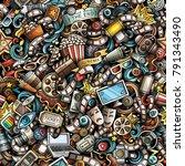 cartoon cute doodles cinema... | Shutterstock .eps vector #791343490