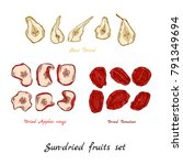 sun dried fruit set hand draw... | Shutterstock .eps vector #791349694