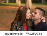lovely couple enjoying fall in... | Shutterstock . vector #791350768