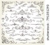 vintage frames and scroll... | Shutterstock .eps vector #791351293