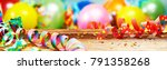 panoramic party banner with... | Shutterstock . vector #791358268